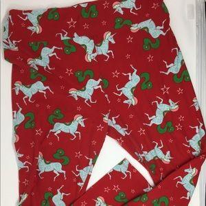Lularoe Tall Curvy Christmas Unicorn Leggings